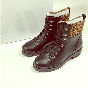 Nine West Wylie Chic Combat Boots Black/Leopard